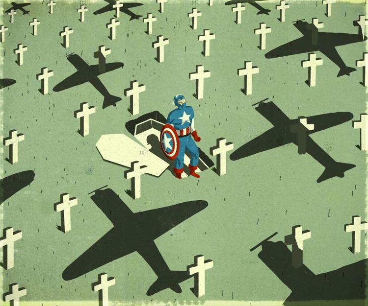 Emiliano Ponzi, USA still needs superheroes, 2011