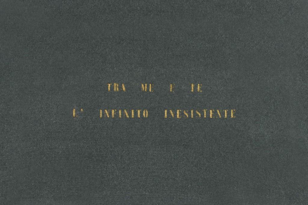 Vincenzo Agnetti, Tra me e te l'infinito inesistente, 1971.