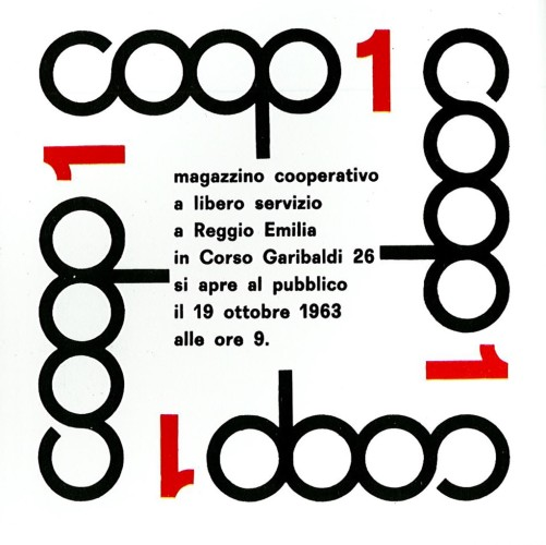 Manifesto-per-l'inaugurazione-del-primo-magazzino-COOP-a-Reggio-Emilia-con-il-logo-disegnato-da-Albe-Steiner-1963