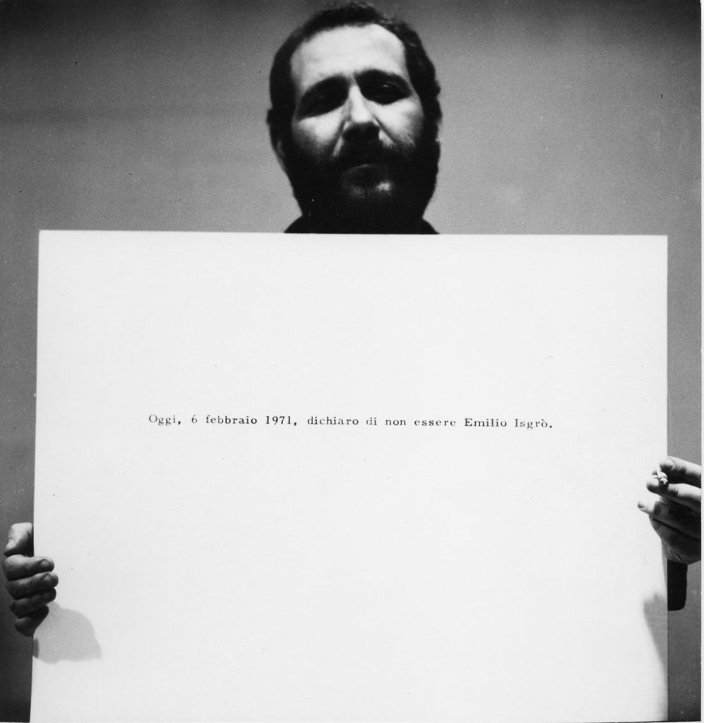 Emilio Isgrò, Dichiaro di non essere Emilio Isgrò, 1971