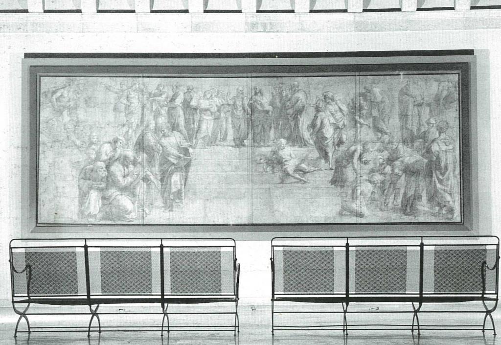 La sala di Raffaello della Pinacoteca Ambrosiana nell'allestimento di Luigi Caccia Dominioni,