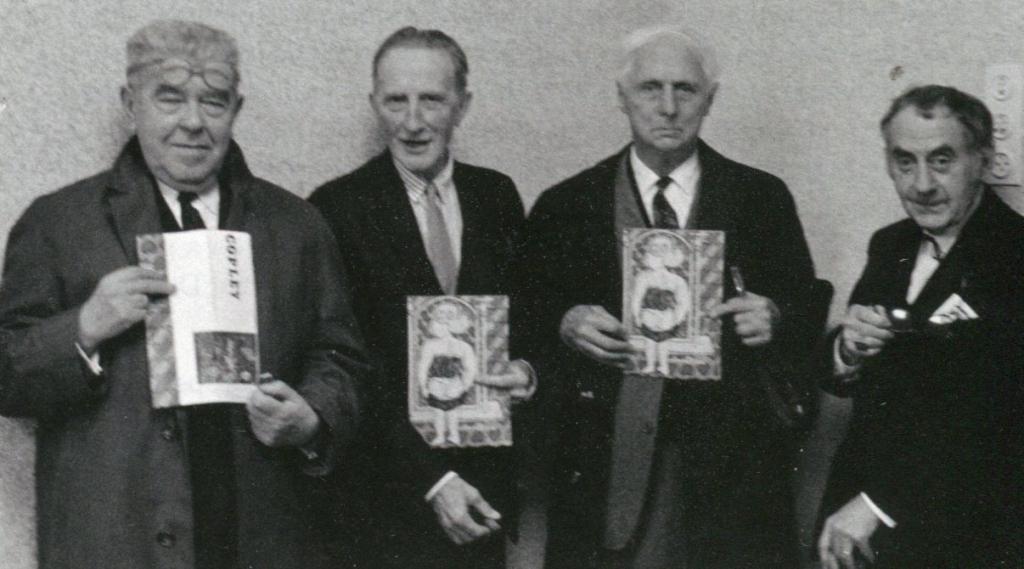 "Da sinistra a destra: Magritte, Duchamp, Ernst, Man Ray. Inaugurazione di ""Copley"", Stedelijk Museum, Amsterdam, 1966"