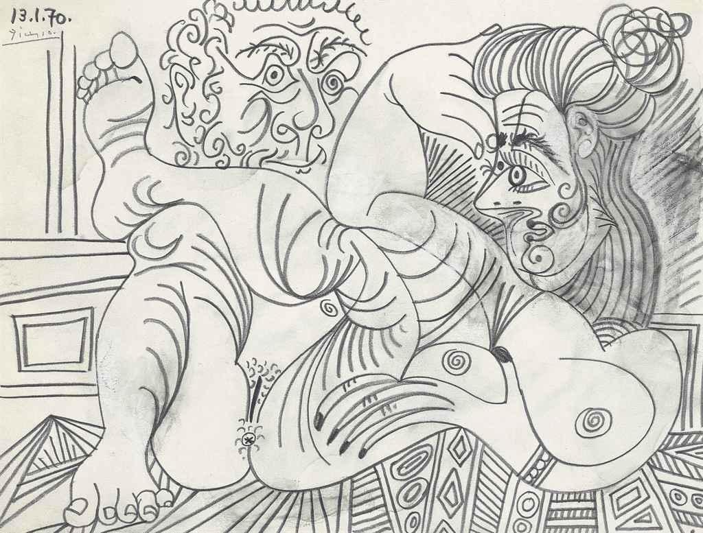 Pablo Picasso, Nu couche et tete d'homme, 1970