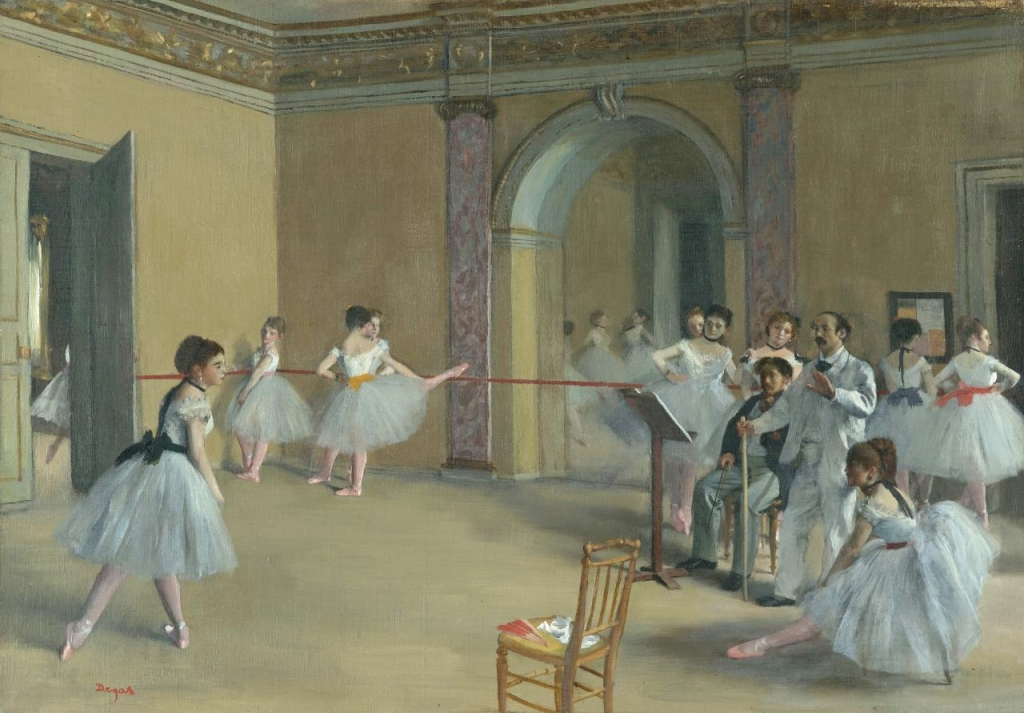 Edgar Degas, Il foyer della danza al teatro dell'Opéra, Parigi, Musée d'Orsay, 1872